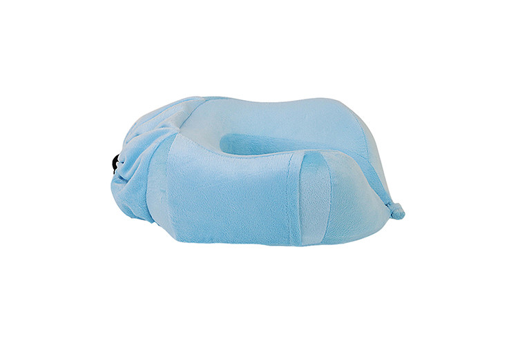 Blue Color Promotional Memory Foam Neck Roll Pillow Custom Logo Printed